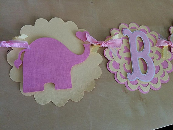 baby shower banner pink and yellow baby shower pink elephant baby