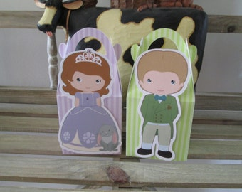 Sofia and James Inspired Gable Favor Boxes Set of 12
