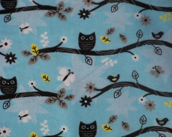 Owls on a branch! Flannel by the yard