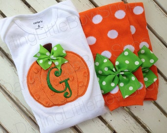 Baby Girl Pumpkin Outfit -- Pretty Little Pumpkin -- bodysuit and leg warmers -- great for Thanksgiving or Halloween
