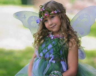 Meadow Fairy dress and tiara, wings and wand, set made with little flowers,woodland, Birthday, Princess