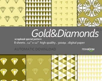 Diamond Scrapbook Paper, Golden Scrapbooking Paper, Diamond Digital Paper, Diamond Pattern, Diamond Paper, Geometric Paper Pack, Mustard