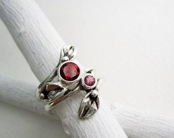 Leaf Ring,Set of 2 Rings, Silver Leaf Rings with 5mm Garnet and 3mm Rhodolite Garnet, Engagement Rings