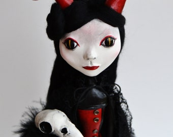 Custom Art Doll - OOAK Art Doll - Devil Art Doll - Victorian Art Doll