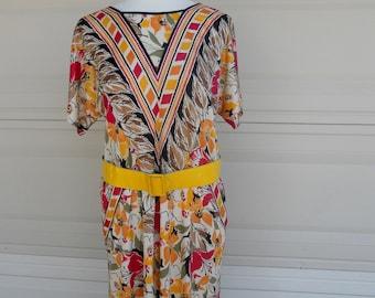Vintage 70s Floral Dress by Virginie Paris S-M