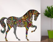 Horse Wall Decal in Flower Rainbow Design