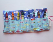 JUMBO TODDLER Crayon Roll, Crayon Holder, Mermaids and Fish, Holds 8 Jumbo Toddler Crayons, Ready to Ship