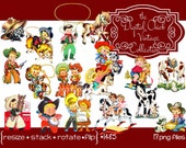 Digital Clipart, Instant Download, Vintage Cowboys Boys, Girls, Birthday Puppies pony, horse lasso bunny saddle rope hat 17 png files 1485