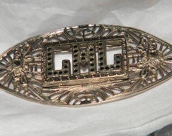 LML - Art Deco Sterling Silver Oynx Marcasite Initial Letter Filigree Brooch Pin