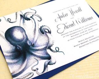 Boho Wedding Invites, Boho Beach Wedding Invitations, Octopus Wedding Invite, Aquarium Wedding Invitations, Offbeat Wedding Invitation Set