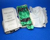 PERI LUSTA embroidery thread in the original box , made in england , emerald green color