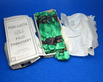 PERI LUSTA embroidery thread in the original box , made in england , emerald green color