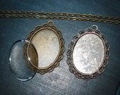 6 KITS Complete Oval Necklaces ( 30mm x 40 mm  inside ) Includes 6 pendants, 6  clear domed glass and 6 matching necklaces Jewelry making