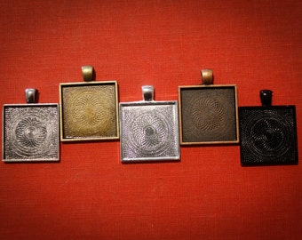 6 - Square Pendant Blanks 1 inch for photos , resin  or art - 5 Colors to choose from, Black Silver, Bronze, Copper
