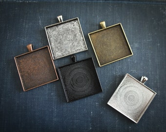 6 Square 35mm Pendant Setting blanks ( 35mm inside ) Cabochon settings for glass, photos, mosaics or art.