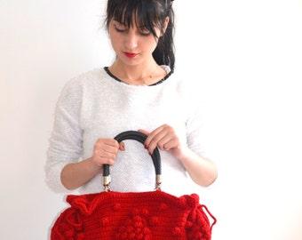 Handmade  CROCHET BAG Red  Knit Bag, Celebrity Style,Crochet winter  bag-Nr:201-Gifts for mom,teacher gift