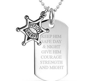 Deputy Sheriff Prayer with Deputy Sheriff Badge Dog Tag 925 Sterling Silver