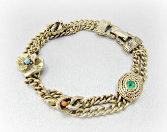 Vintage GOLDETTE Charm Bracelet, Rhinestone Charm, Bee Snake Flower Charm, Multi-Strand Gold Chain Bracelet, 1950s Victorian Revival Jewelry