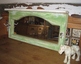 Farmhouse Foyer Hand Made Mud Room Mirror with 2 Hooks & Top Shelf -  Recycled Distressed Green Pepper