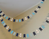 Paper Garland/ 10 ft Mini Flag Garland/ Anchor Theme /It's a Boy Decor/ Birthday Decor/Nautical Theme Baby Shower /Photo Prop /Custom colors