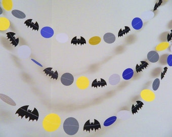 Bat man Birthday Decorations - Superhero Garlands - Bat Man Garland - Comic Book birthday Party Decor - 10 foot Garland- Boys Room Decor