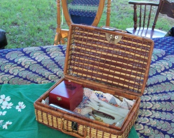 Picnic Chest Filled For Instant Summer Party Indoors Or Out With Vintage Cloth