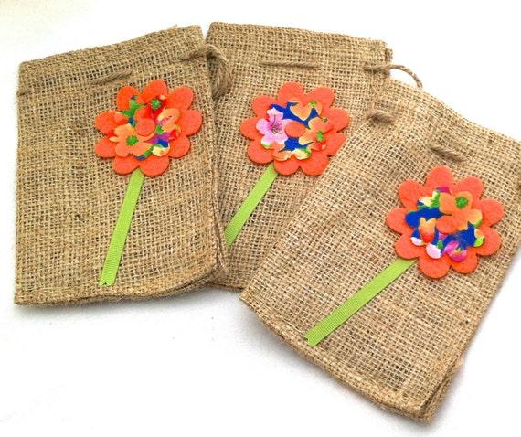 eco burlap drawstring gift bags