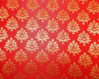 Fat quarter of Indian silk brocade in red  and gold flower motifs