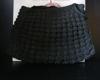 Vintage Black Crocheted Purse