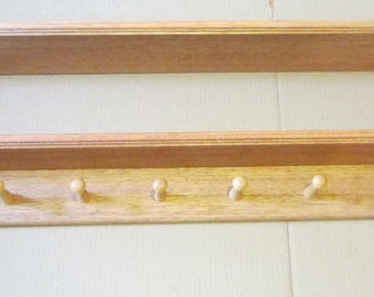 Coat Rack Wall Mounted Storage Shelf with 6 Pegs or Less