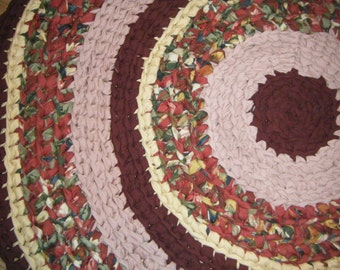 On Sale Burgundy and Pink Handmade Fabric Rug - for Etsy