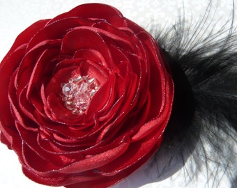 Red Satin Flower Hairclip with Silver and Iridescent Beading and Black Feather Accents