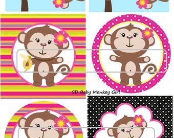 "DIY Printable ""Baby Monkey Girl 1"" Shrinkable Digital Images (JPEG File)"