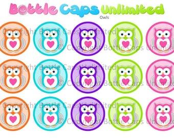 "15 Owls Colors 1 Download for 1"" Bottle Caps (4x6)"