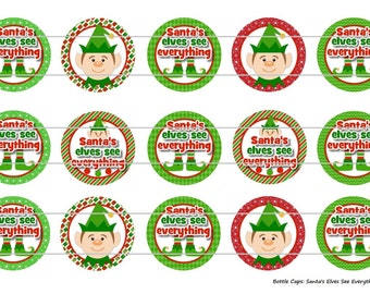 "Santa's Elves See Everything 1 Digital Download for 1"" Bottle Caps (4x6)"