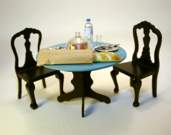 Miniature Turquoise Table with Black Chairs Dinette Set - for dollhouse kitchen or dining room