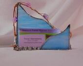 Feminine - Business Card Holder - Stained Glass - Professional Women - Desk Decor