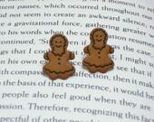 Gingerbread Earrings, Button Jewelry, Gingerbread Jewelry, Christmas Earrings, Holiday Jewelry, Cookie Earrings