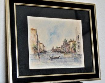 Signed Watercolor Painting City Art Venice Aquarelle Waterscape Landscape Original Historic Buildings