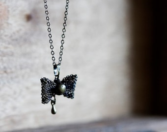 Sweet Bow Long Chain Necklace Filigree Black Bow Necklace - N284