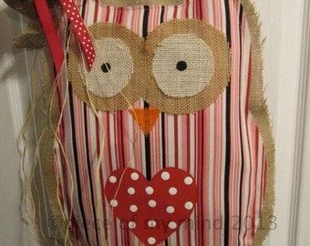 Owl Burlap Door Hanger Door Decoration Valentine Burlap Owl