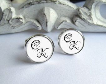 Mens Custom Cuffinks, Personalized Initial Cufflinks, Monogram Cufflinks