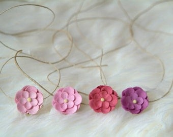 Flower Tieback, Photography Prop, Flower Headband on Twine, Newborn Photography Prop, Headband, Tie Back, Twine, Flower, Pink, Purple