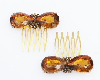 Vintage Gold and Topaz Glass Rhinestone Haircomb