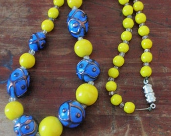 Beautiful Blue and Yellow Art Deco Necklace