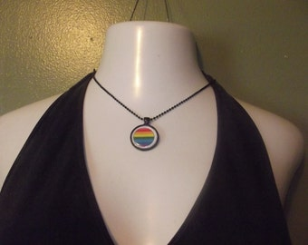 Rainbow Pride Necklace - choose round or square setting