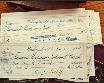 American Bank Check, Vintage Cheque, Assemblage Ephemera, Antique American Cheque, Georgetown Checks