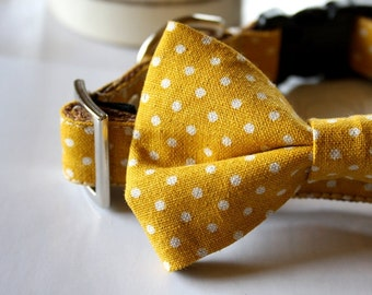 Canvas Cotton Linen Mustard Yellow Polka Dot Bow Tie Dog Collar