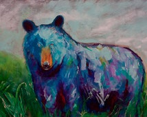 Whimsy Animal Bear Giclee Print | Signed on Gallery Wrapped Stretched Canvas ready to hang | A Painting A Day #6