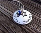 Dallas Cowboys Necklace, Handstamped Dallas Cowboys, Dallas Cowboys, Dallas Jewelry